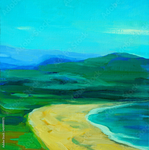 Staande foto Turkoois landscape with sea, beach and mountains,_painting