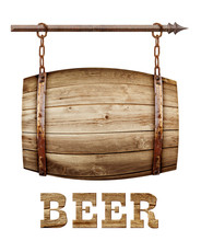 Barrel Shaped Wooden Signboard