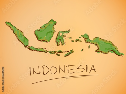 Indonesia Map Sketch Vector Canvas Print