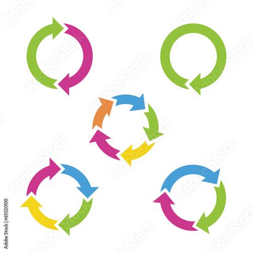 Colorful cycle arrows. Vector illustration. Fototapeta