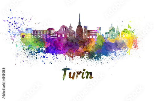 Turin skyline in watercolor Canvas Print