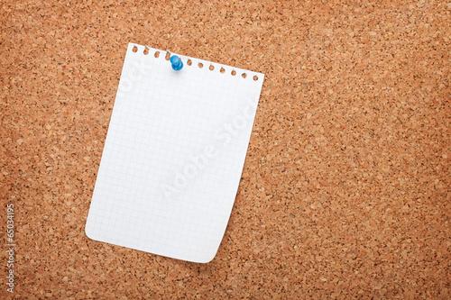 Fotografie, Obraz  Blank notepad paper on cork wood notice board