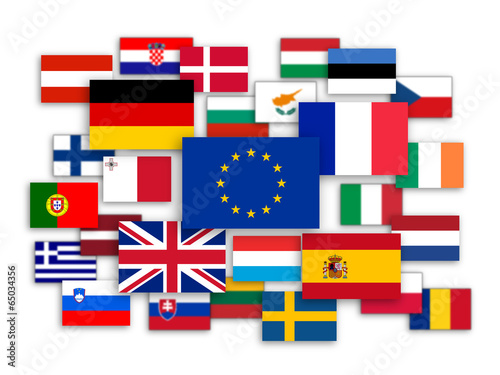 Fotografia  EU Jigsaw (member states flags 28 France Germany UK)
