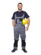 Portrait of smiling worker in gray uniform