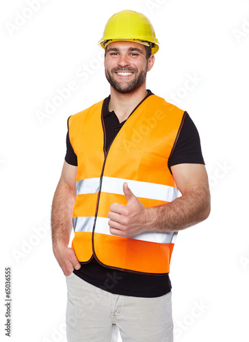 Fotografía  Portrait of smiling worker in a reflective vest