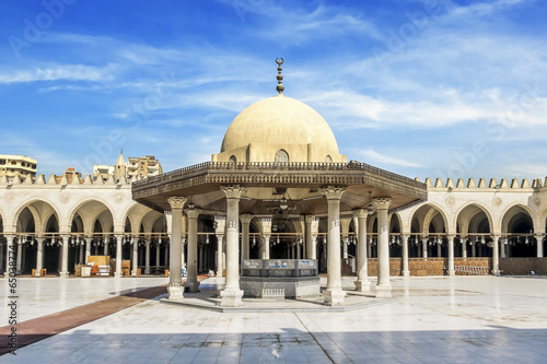 The Interior of the mosque of AMR Ibn Al-Aasa in Cairo