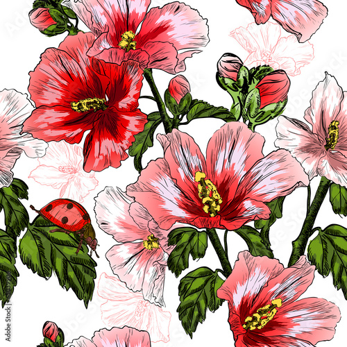 seamless pattern with red Hibiscus flowers and ladybird