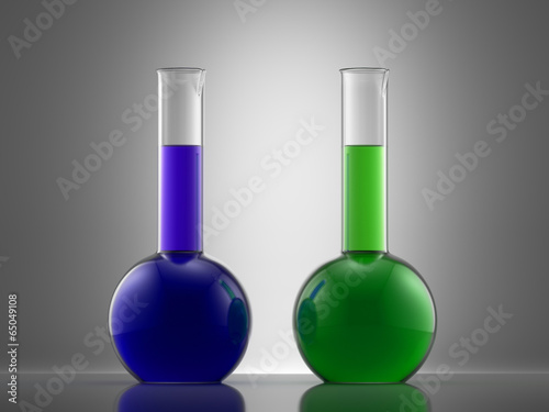 Valokuva  Science laboratory glass equipment with liquid. flasks with colo