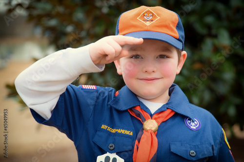 Fotografie, Obraz  Cub Scout gives the Boy Scout salute during an outdoor event