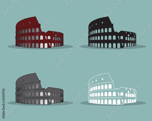 Photo  Colosseum in Rome Black Silhouette Vector Illustration.