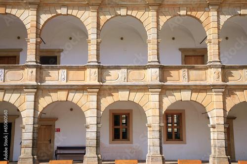 Fotografie, Obraz  Arcades in castle in Moravska Trebova, Czech Republic.