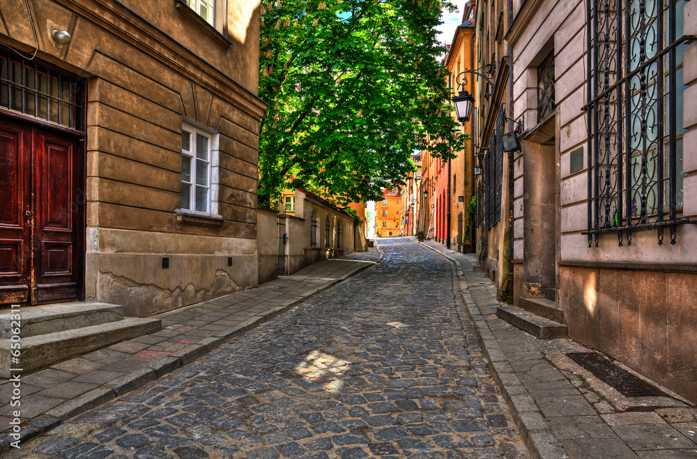 The street of the old town in Warsaw,Brzozowa street.