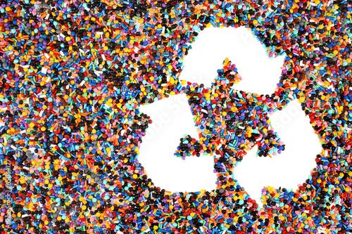 Fotografía  Colorido de polímero granulado de plástico