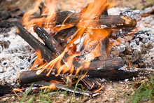Broken Bonfire With Flame