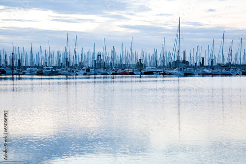 Masts of sailing boats in marina near Saint Malo