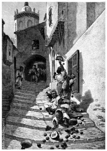 Stairs in the Kasbah - Arabian Street Scene - 19th century Tapéta, Fotótapéta