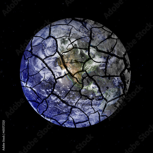 Deurstickers Nasa Fragile Planet Earth Cracking Apart in Outer Space