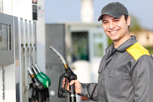 Fotografie, Obraz  Smiling gas station worker
