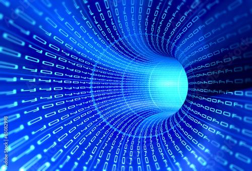 Fotografie, Obraz  Tunnel binary code - internet concept