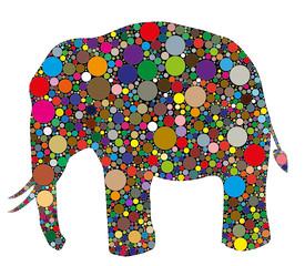 Obraz na Szkle Słoń elefante composto da colori