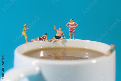 Fotografie, Obraz  Plastic People Swimming in Coffee
