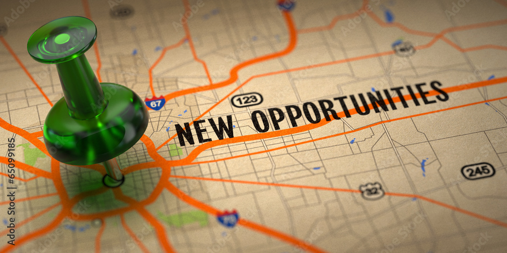 Fototapety, obrazy: New Opportunities - Green Pushpin on a Map Background.