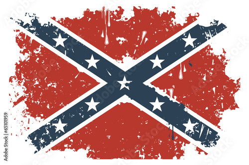 Confederate Rebel flag Grunge Canvas Print