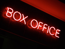 Low Angle View Of Neon Sign Of Box Office