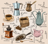 Vintage coffee handdrawn set