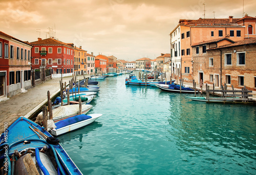 Fototapeta Deatil old architectureon  island  Murano in Venice