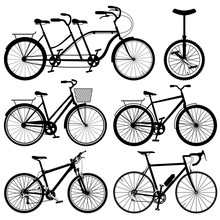 Set Of Silhouettes Of Bicycles