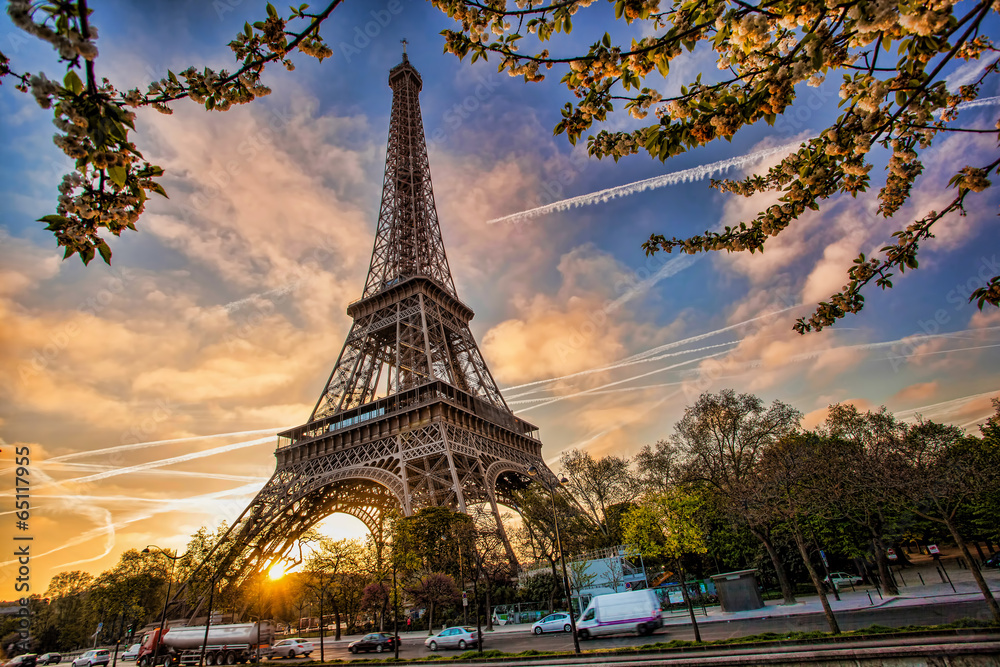 Fototapeta Eiffel Tower against sunrise  in Paris, France