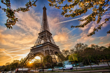 Fototapeta Paryż Eiffel Tower against sunrise in Paris, France