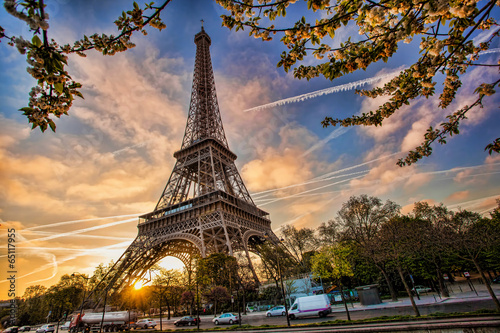 Poster Parijs Eiffel Tower against sunrise in Paris, France