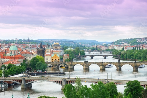 Foto op Plexiglas Praag Prague and its multiple bridges across Vltava river
