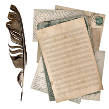 Aged Paper Sheet For Musical Notes And Antique Ink Pen