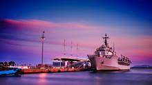 Military Ship On Cagliari Harbor