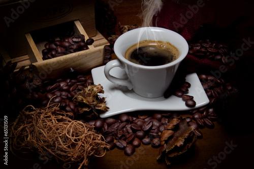 Foto op Plexiglas Koffiebonen caffè