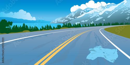Canvas Prints Blue Road landscape crash danger mountains way