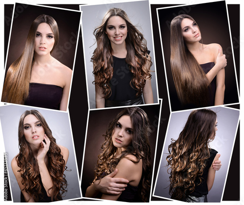Foto op Plexiglas Kapsalon Fashion hairstyle collage. Beautiful girl with natural long
