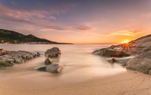 Sunset Over Algajola Beach In Corsica