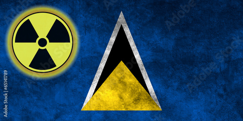 Grunge flag background with nuclear sign - Saint Lucia - Buy