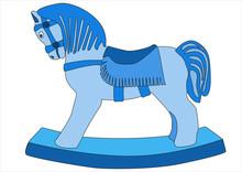 Blue Rocking Horse On A White Background
