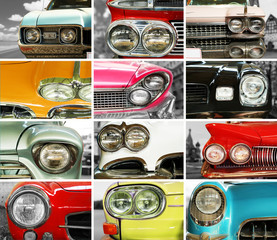 Classic cars, retro automobile collage, bumper and headlights