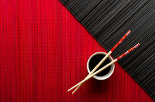 Chopsticks And Bowl With Soy S...