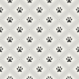 Seamless animal pattern of paw footprint in repeating rhombus. E