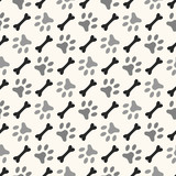 Seamless animal pattern of paw footprint and bone. Endless textu