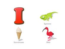 ABC Letter I Funny Kid Icons Set: Iguana, Ice Cream, Ibis