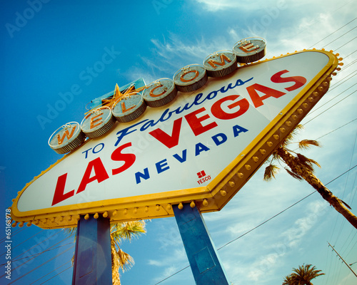 Staande foto Las Vegas Historic Las Vegas sign with retro tone