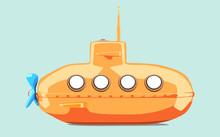 Cartoon-styled Orange Submarine. Vector Illustration
